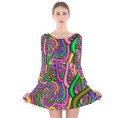 Fractal Background With Tangled Color Hoses Long Sleeve Velvet Skater Dress