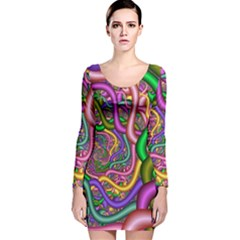 Fractal Background With Tangled Color Hoses Long Sleeve Velvet Bodycon Dress