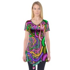 Fractal Background With Tangled Color Hoses Short Sleeve Tunic