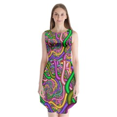 Fractal Background With Tangled Color Hoses Sleeveless Chiffon Dress