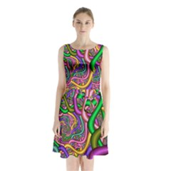 Fractal Background With Tangled Color Hoses Sleeveless Chiffon Waist Tie Dress