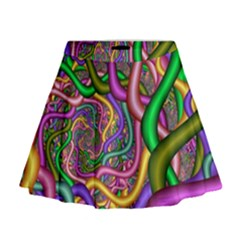 Fractal Background With Tangled Color Hoses Mini Flare Skirt