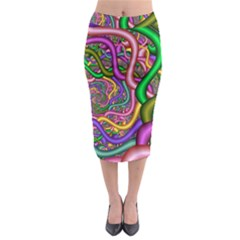 Fractal Background With Tangled Color Hoses Midi Pencil Skirt