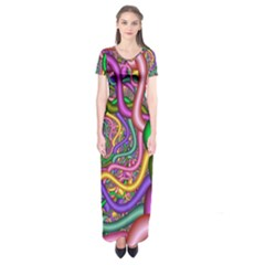 Fractal Background With Tangled Color Hoses Short Sleeve Maxi Dress