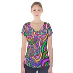 Fractal Background With Tangled Color Hoses Short Sleeve Front Detail Top
