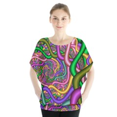 Fractal Background With Tangled Color Hoses Blouse