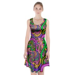 Fractal Background With Tangled Color Hoses Racerback Midi Dress