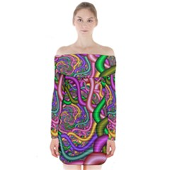 Fractal Background With Tangled Color Hoses Long Sleeve Off Shoulder Dress