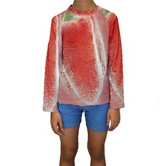 Red Pepper And Bubbles Kids  Long Sleeve Swimwear