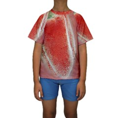 Red Pepper And Bubbles Kids  Short Sleeve Swimwear