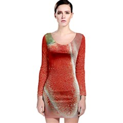 Red Pepper And Bubbles Long Sleeve Bodycon Dress