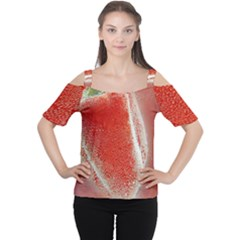 Red Pepper And Bubbles Women s Cutout Shoulder Tee