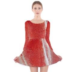 Red Pepper And Bubbles Long Sleeve Velvet Skater Dress
