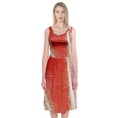 Red Pepper And Bubbles Midi Sleeveless Dress