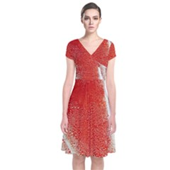 Red Pepper And Bubbles Short Sleeve Front Wrap Dress
