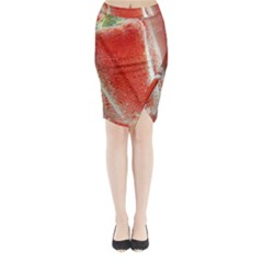 Red Pepper And Bubbles Midi Wrap Pencil Skirt