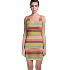 Abstract Vintage Lines Background Pattern Sleeveless Bodycon Dress