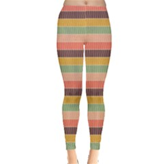 Abstract Vintage Lines Background Pattern Leggings