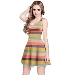 Abstract Vintage Lines Background Pattern Reversible Sleeveless Dress