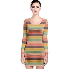 Abstract Vintage Lines Background Pattern Long Sleeve Bodycon Dress