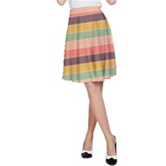 Abstract Vintage Lines Background Pattern A-Line Skirt