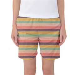 Abstract Vintage Lines Background Pattern Women s Basketball Shorts