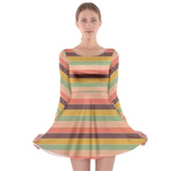 Abstract Vintage Lines Background Pattern Long Sleeve Skater Dress