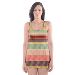 Abstract Vintage Lines Background Pattern Skater Dress Swimsuit
