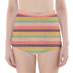 Abstract Vintage Lines Background Pattern High Waisted Bikini Bottoms