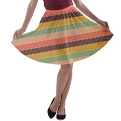 Abstract Vintage Lines Background Pattern A-line Skater Skirt