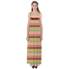 Abstract Vintage Lines Background Pattern Empire Waist Maxi Dress
