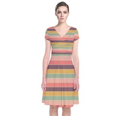 Abstract Vintage Lines Background Pattern Short Sleeve Front Wrap Dress