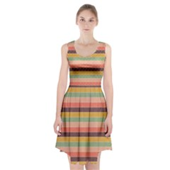 Abstract Vintage Lines Background Pattern Racerback Midi Dress