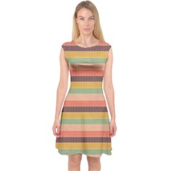 Abstract Vintage Lines Background Pattern Capsleeve Midi Dress