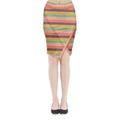 Abstract Vintage Lines Background Pattern Midi Wrap Pencil Skirt
