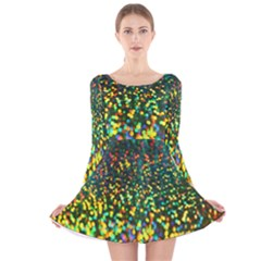 Construction Paper Iridescent Long Sleeve Velvet Skater Dress
