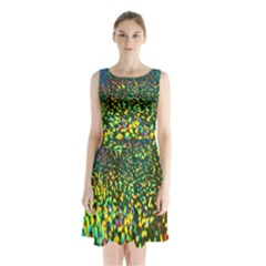 Construction Paper Iridescent Sleeveless Chiffon Waist Tie Dress