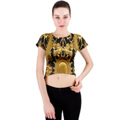 Golden Sun Crew Neck Crop Top
