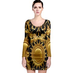 Golden Sun Long Sleeve Bodycon Dress