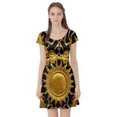 Golden Sun Short Sleeve Skater Dress