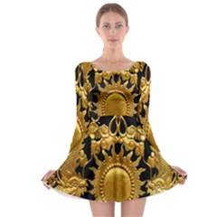 Golden Sun Long Sleeve Skater Dress