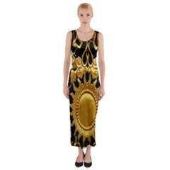 Golden Sun Fitted Maxi Dress