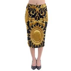 Golden Sun Midi Pencil Skirt