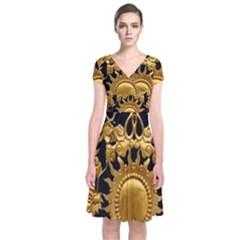 Golden Sun Short Sleeve Front Wrap Dress