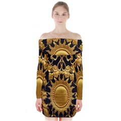 Golden Sun Long Sleeve Off Shoulder Dress