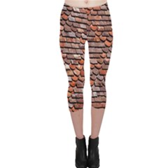 Roof Tiles On A Country House Capri Leggings