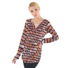 Roof Tiles On A Country House Women s Tie Up Tee