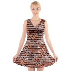 Roof Tiles On A Country House V-Neck Sleeveless Skater Dress