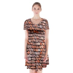 Roof Tiles On A Country House Short Sleeve V-neck Flare Dress