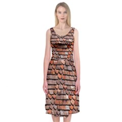 Roof Tiles On A Country House Midi Sleeveless Dress